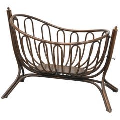 Cradle for Baby Art Nouveau Bentwood Attributed to Thonet, circa 1900, Label