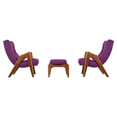 Craft Associates Model 705-CW Adrian Pearsall Scoop Lounge Chair Set