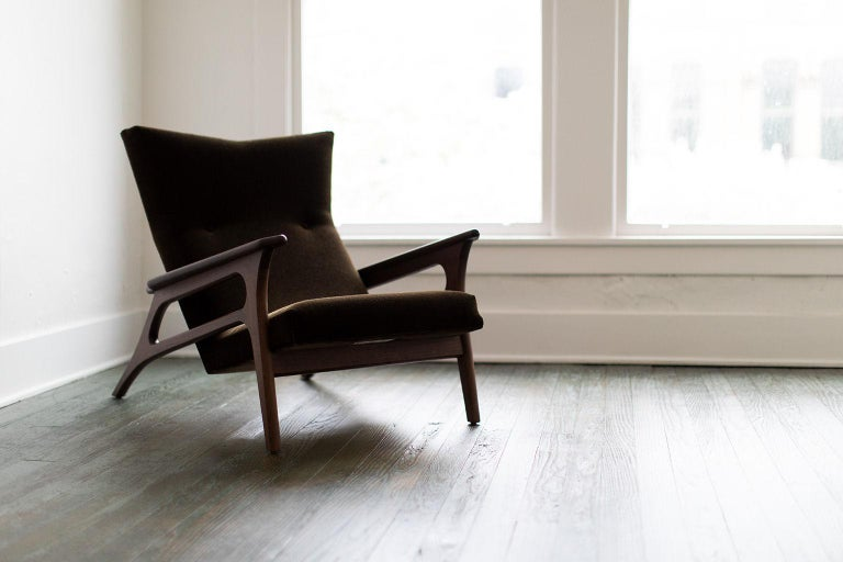 Designer: Laura Trenchard  Manufacturer: Craft Associates Modern Furniture Period/Model: Mid-Century Modern Specs: Walnut, Mohair Yardage: 6 yards, 5.5 meters   condition  Craft Associates Modern lounge chair - 2002 - The Parallax - is
