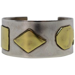 Craft Sterling Silver Cuff Bracelet with Brass Appliques