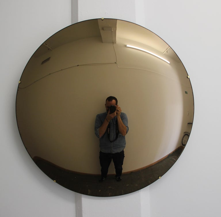 Crafted Frameless Orbis™ Bronze Tinted Convex Mirror For Sale 1