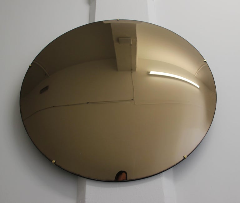 Crafted Frameless Orbis™ Bronze Tinted Convex Mirror For Sale 2