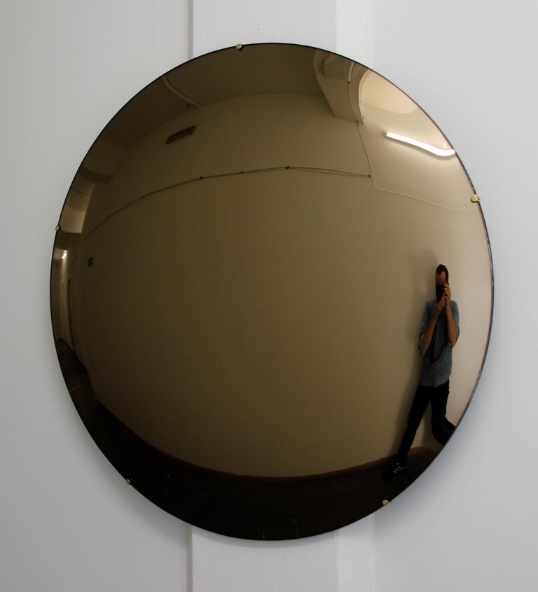Crafted Frameless Orbis™ Bronze Tinted Convex Mirror For Sale 3