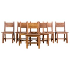 Craftsman Belgian Wooden Dining Chairs, Set of Eight