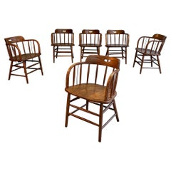 Craftsman Oak Fire House Dining Armchairs