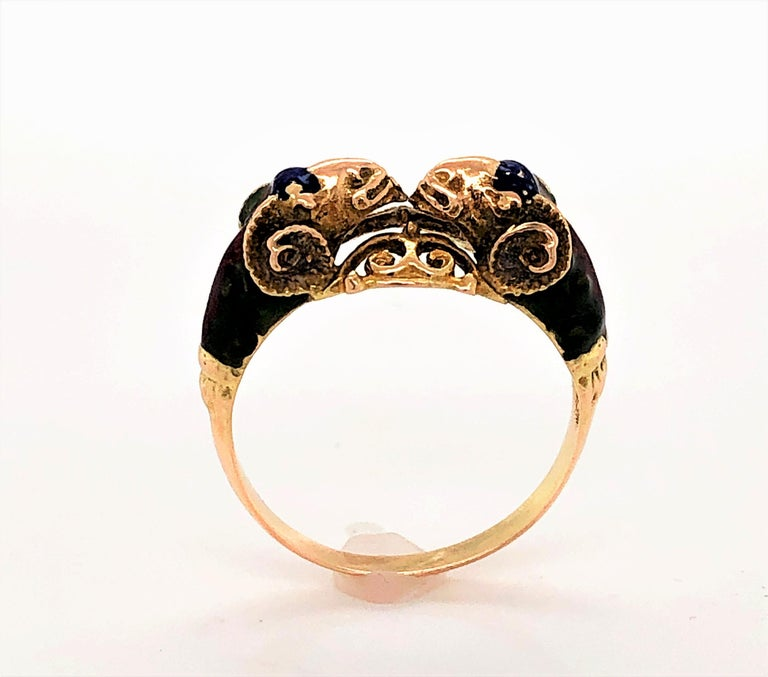 Craftsman's Rams Head Gold Enamel Ring In Good Condition For Sale In Mount Kisco, NY