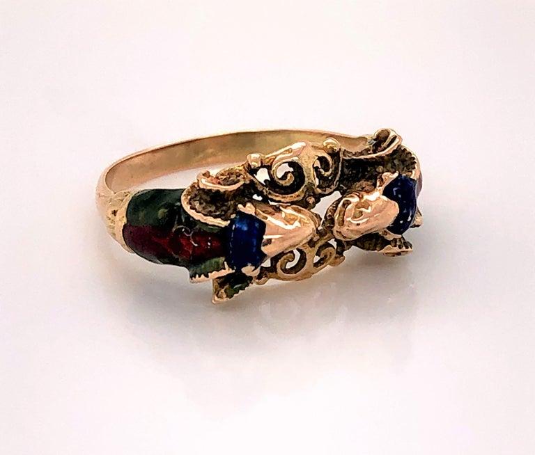 Women's Craftsman's Rams Head Gold Enamel Ring For Sale