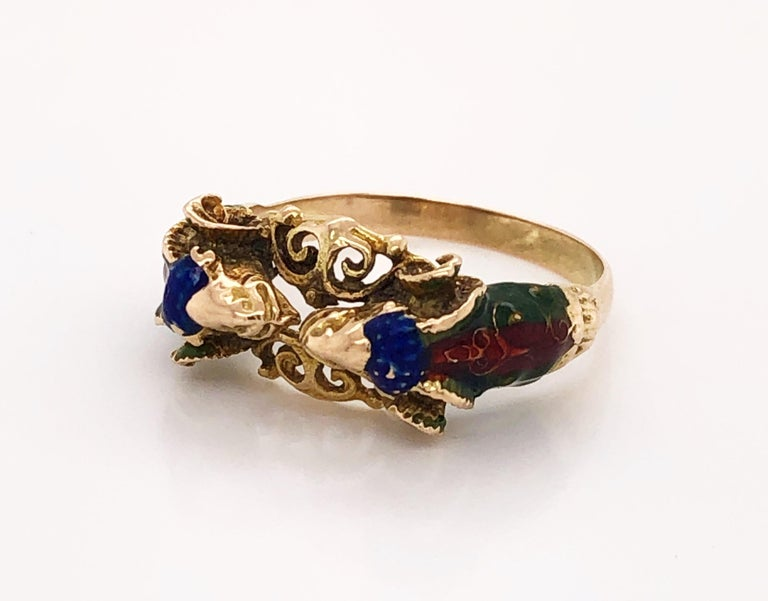 Craftsman's Rams Head Gold Enamel Ring For Sale 1