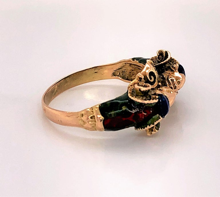 Craftsman's Rams Head Gold Enamel Ring For Sale 2