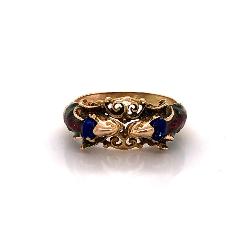 Craftsman's Rams Head Gold Enamel Ring For Sale 3