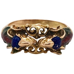 Craftsman's Rams Head Gold Enamel Ring