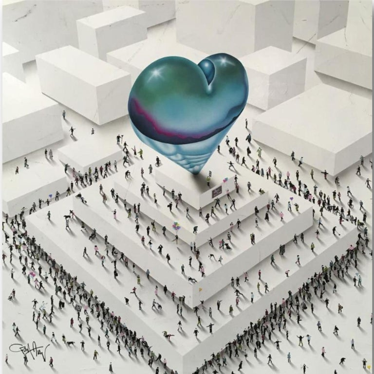 """Craig Alan Figurative Painting - 'Populus Conceptual' - """"All You Need Is Love"""