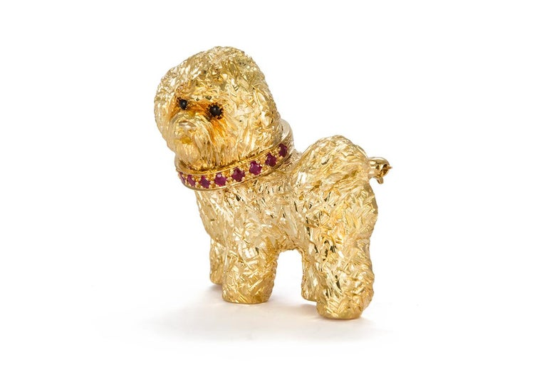 Contemporary Craig Drake 18 Karat Yellow Gold and Ruby Dog Brooch For Sale