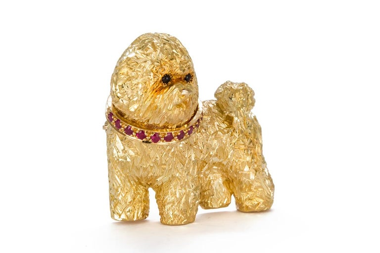 Women's or Men's Craig Drake 18 Karat Yellow Gold and Ruby Dog Brooch For Sale