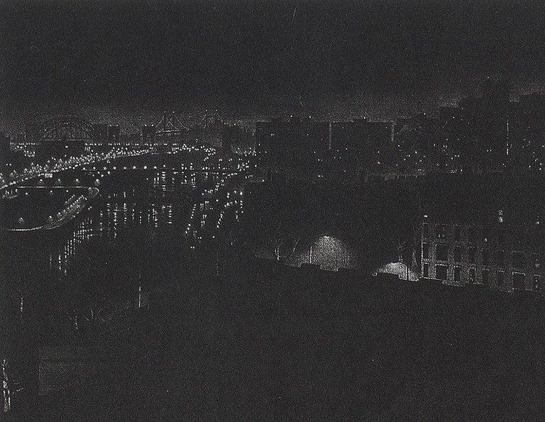 Girders (rainy night view of artist's former studio in Washington Heights - Print by Craig McPherson