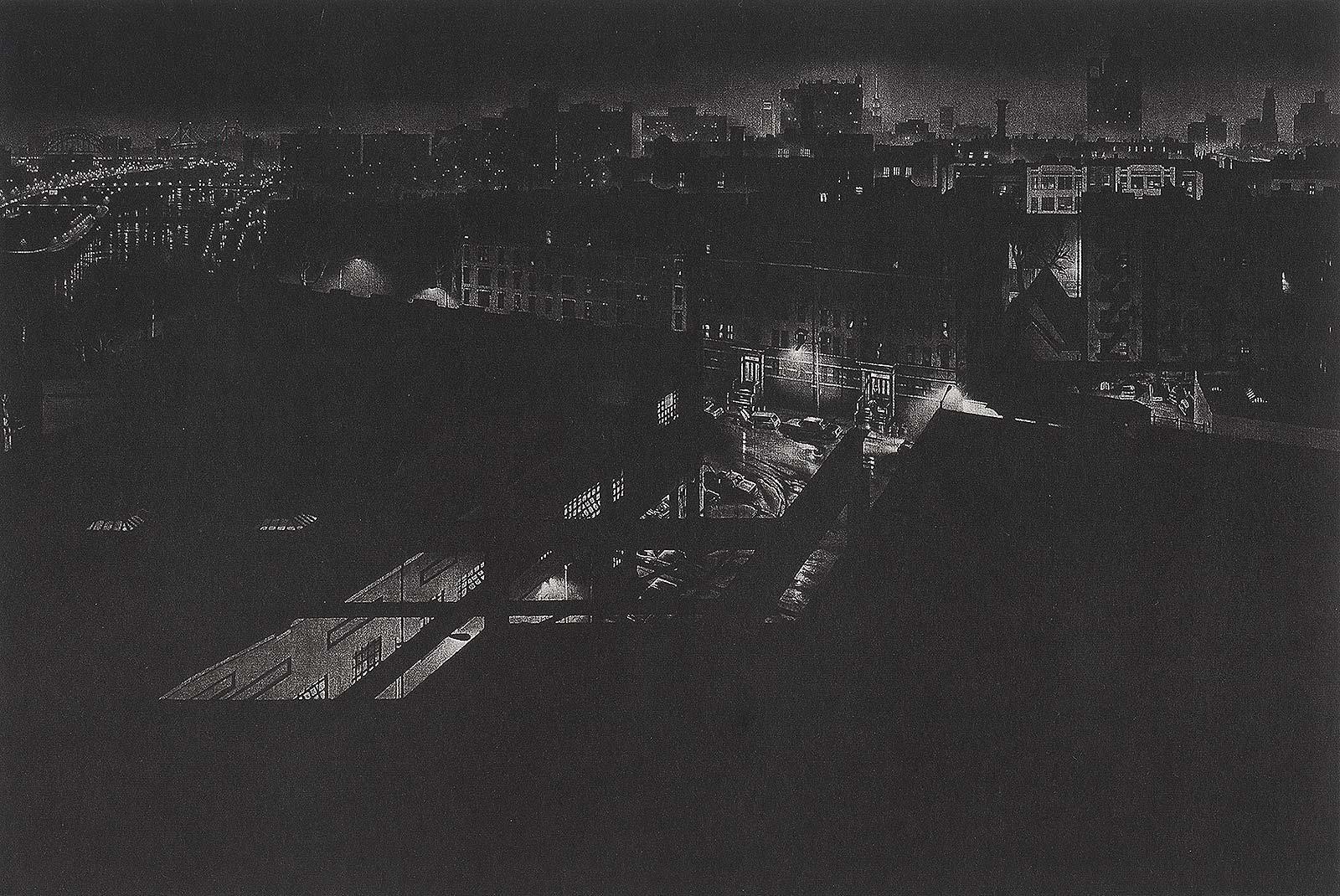 Girders (rainy night view of artist's former studio in Washington Heights