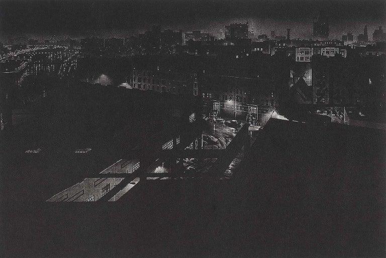 Craig McPherson Landscape Print - Girders (rainy night view of artist's former studio in Washington Heights