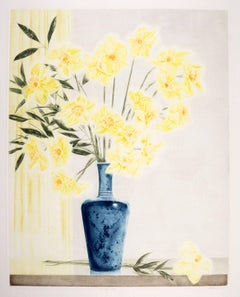 The Blue Vase (Large bouquet of yellow flowers in a high glaze blue vase)