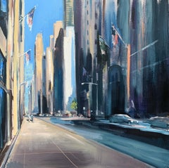 City Avenue, Square Representational Cityscape Oil Painting