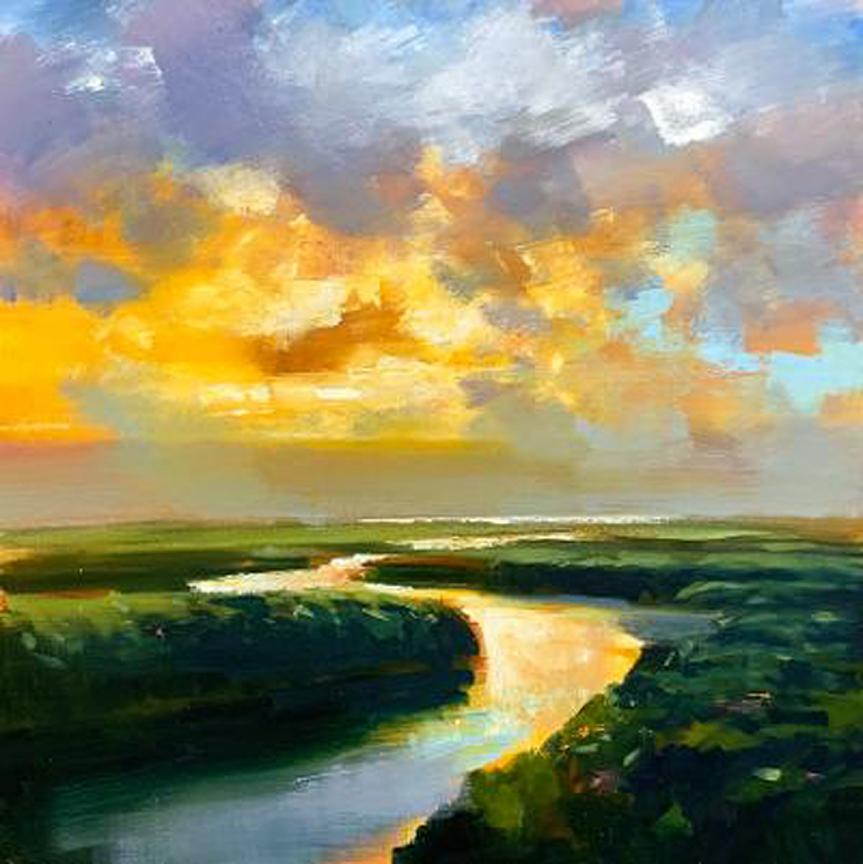 "Craig Mooney ""River Bend"" Atmospheric River Sunset Landscape Oil Painting, 2020"