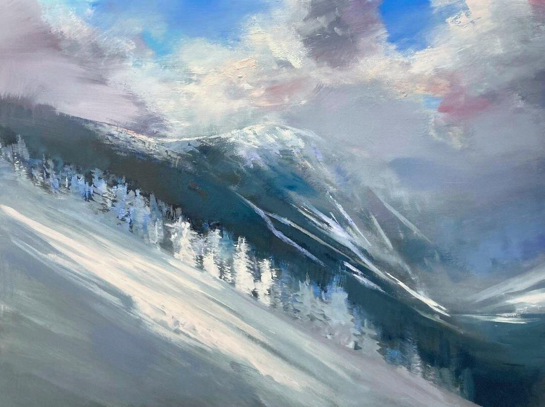 """Craig Mooney, """"Snow Squalls"""", Winter Mountainscape Oil Painting, 2020"""