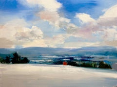 """Craig Mooney, """"Valley Snow Fields"""", Abstract Winter Landscape Oil Painting, 2020"""