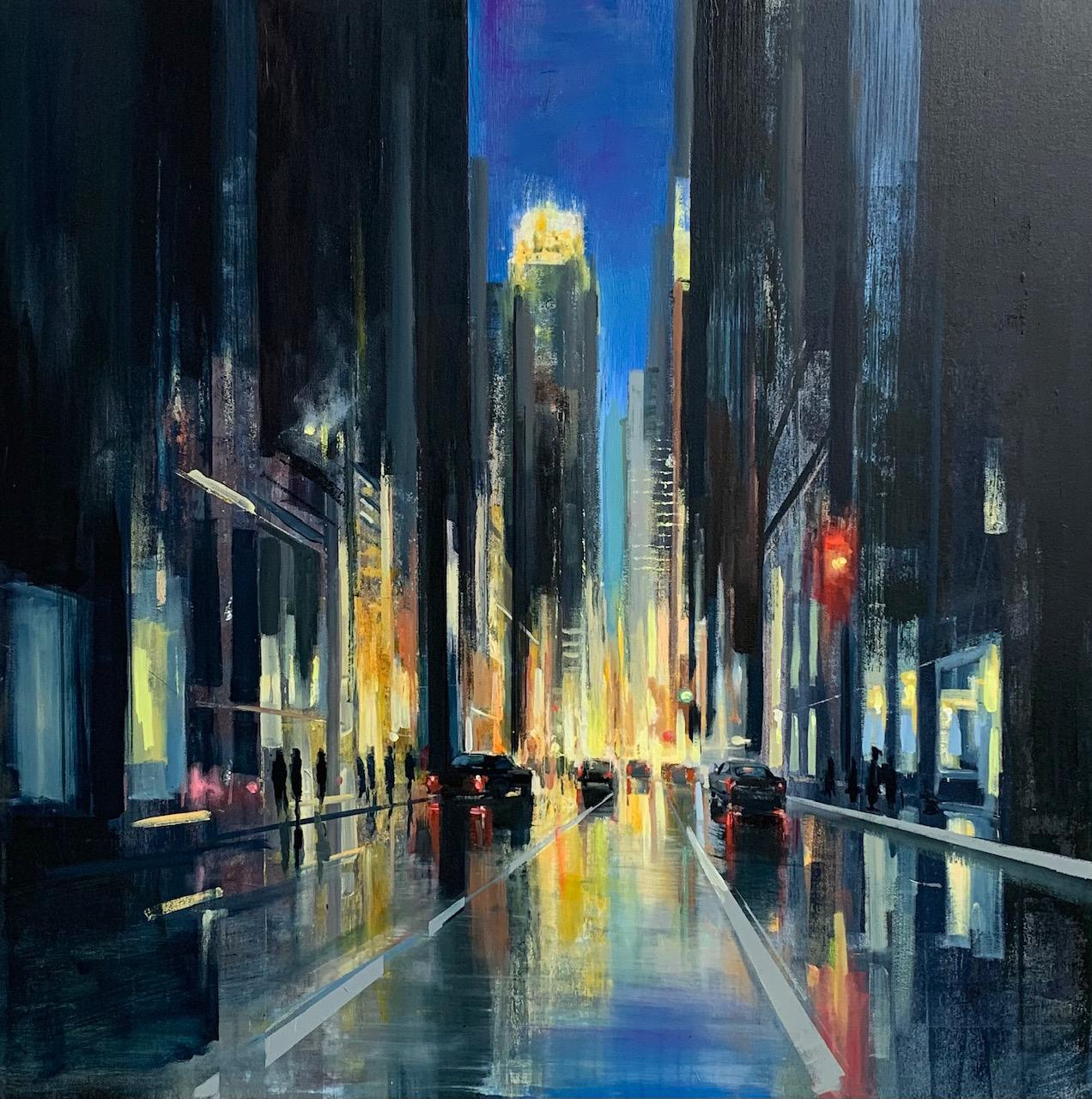 Into the Night- oil on linen cityscape painting by Craig Mooney