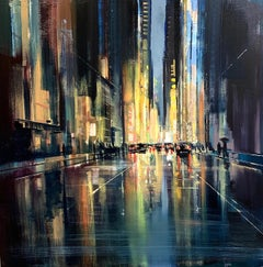 Night Lights- dark colored cityscape painting depicting the night