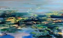 Pond Reflections by Craig Mooney, Abstract Lily Pad Landscape Oil Painting