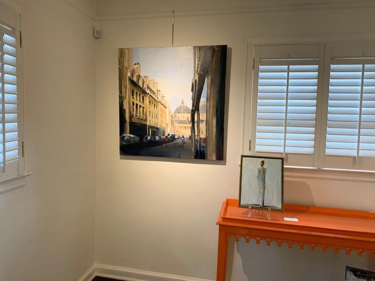 Quiet Street (Paris), Large Representational Oil on Canvas Cityscape Painting  - Beige Landscape Painting by Craig Mooney
