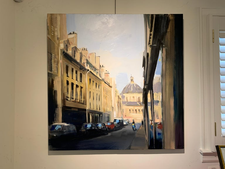 'Quiet Street (Paris)' is a large representational oil on canvas landscape painting, created by American artist Craig Mooney is 2019.  Featuring an exquisite palette mostly made of blue, black and grey tones highlighted by subtle touches of