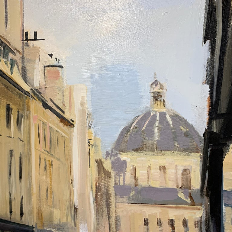 Quiet Street (Paris), Large Representational Oil on Canvas Cityscape Painting  3