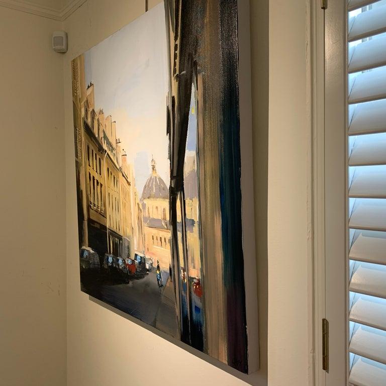 Quiet Street (Paris), Large Representational Oil on Canvas Cityscape Painting  4