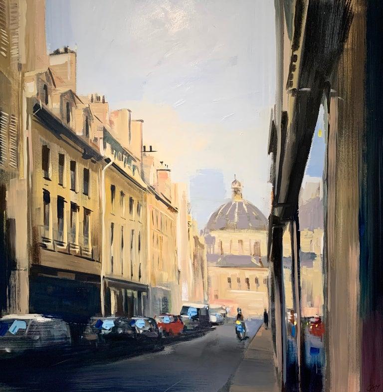 Craig Mooney Landscape Painting - Quiet Street (Paris), Large Representational Oil on Canvas Cityscape Painting