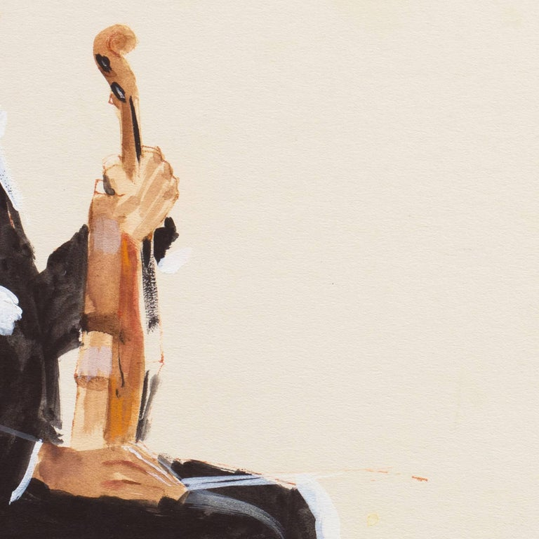 Signed lower left, 'Craig' and dated 1975.  A softly painted study of a violinist sitting against an ivory background.   After graduating from Art Center College of Design with distinction, Craig Nelson worked in Los Angeles for recording companies