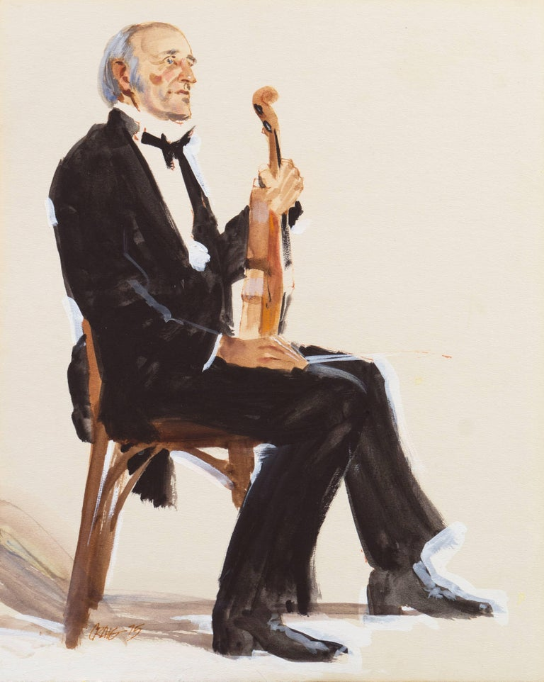 Craig Nelson Nude Painting - 'The Violinist', Art Center, Los Angeles, California