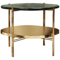 Craig Side Table in Polished Brass and Marble