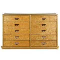 Craig Yamamoto Cherrywood and Figured Maple Ten-Drawer Tansu Chest Dresser