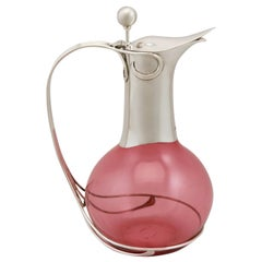 Cranberry Colored Glass and Sterling Silver Mounted Claret Jug