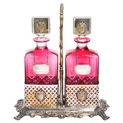 Cranberry/Cut Crystal Decanter Set English Ornate Plated Holder