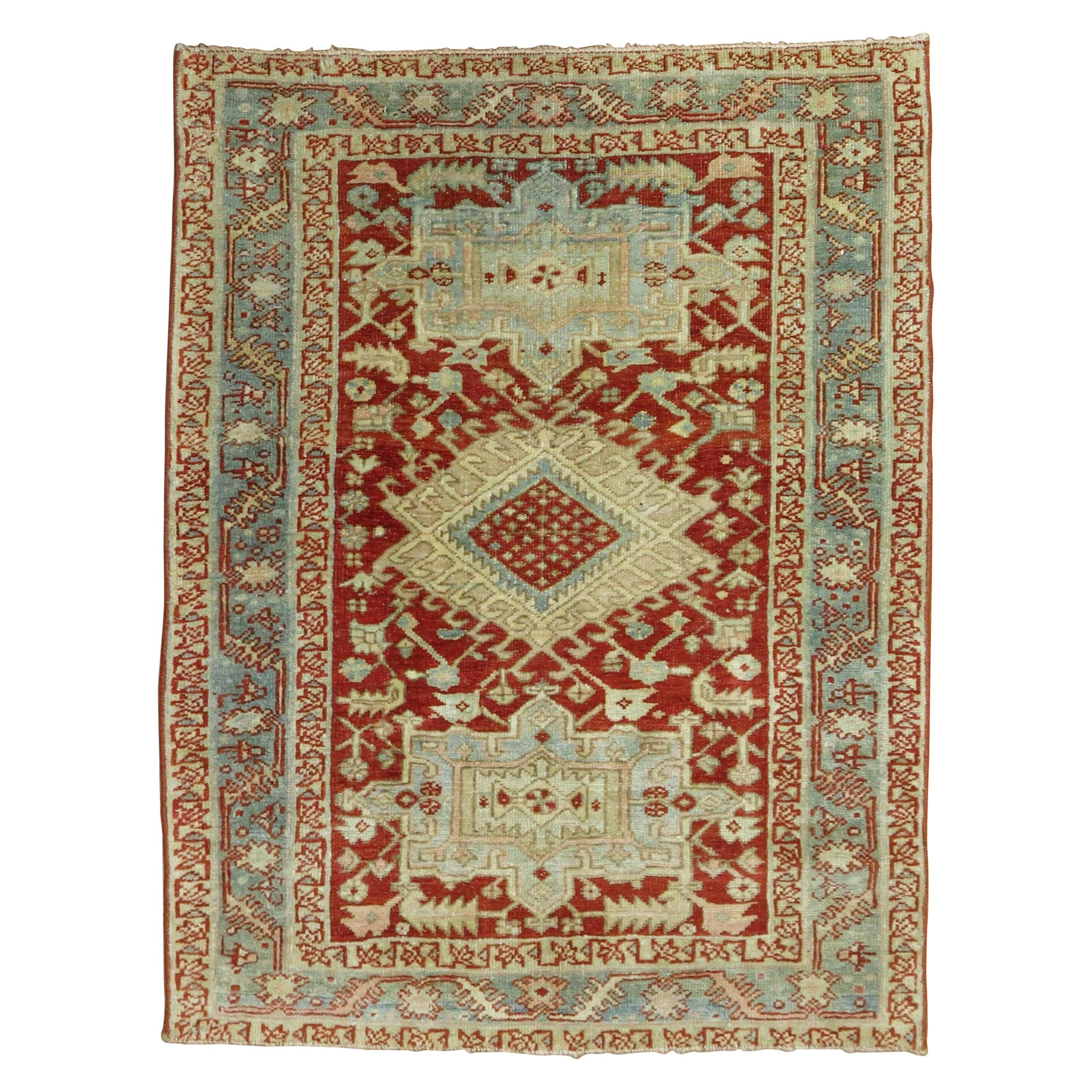 Cranberry Icy Blue Square Size Antique Persian Heriz Scatter Wool Handwoven Rug