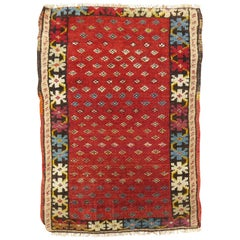Cranberry Red Tribal Square Size Antique Northwest Persian Mat Rug