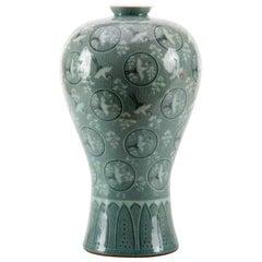 Crane Porcelain Vase, China, 20th Century