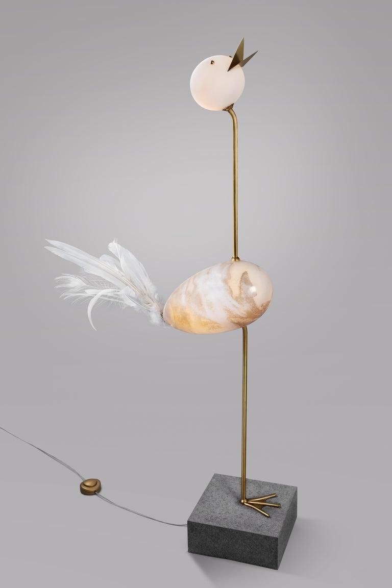Crane, Unique Floor Lamp Sculpture, Ludovic Clément d'armont In New Condition For Sale In Collonge Bellerive, Geneve, CH
