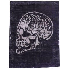 Distressed Vintage Craniotomy Skull Area Rug Inspired by Alexander McQueen