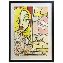 """Crash 'John Matos' Large Original Watercolor Painting """"Jessica Rabbit"""""""