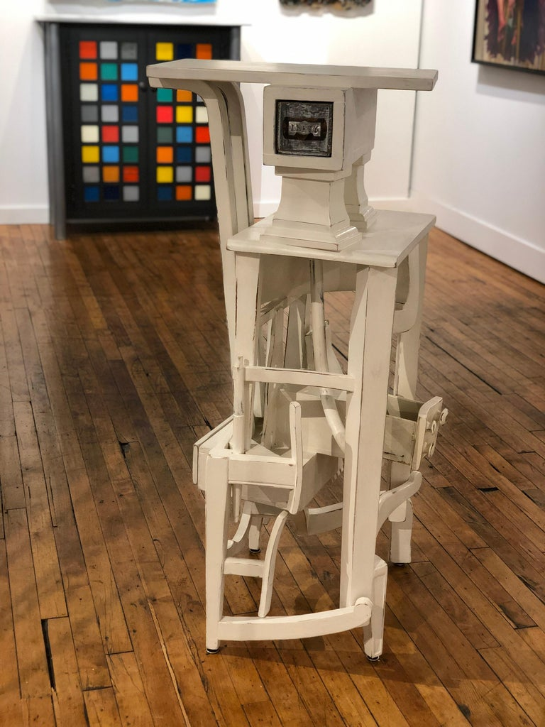 Modern Lefty - Side Table or Pedestal, Found Wood Various Materials, Painted For Sale