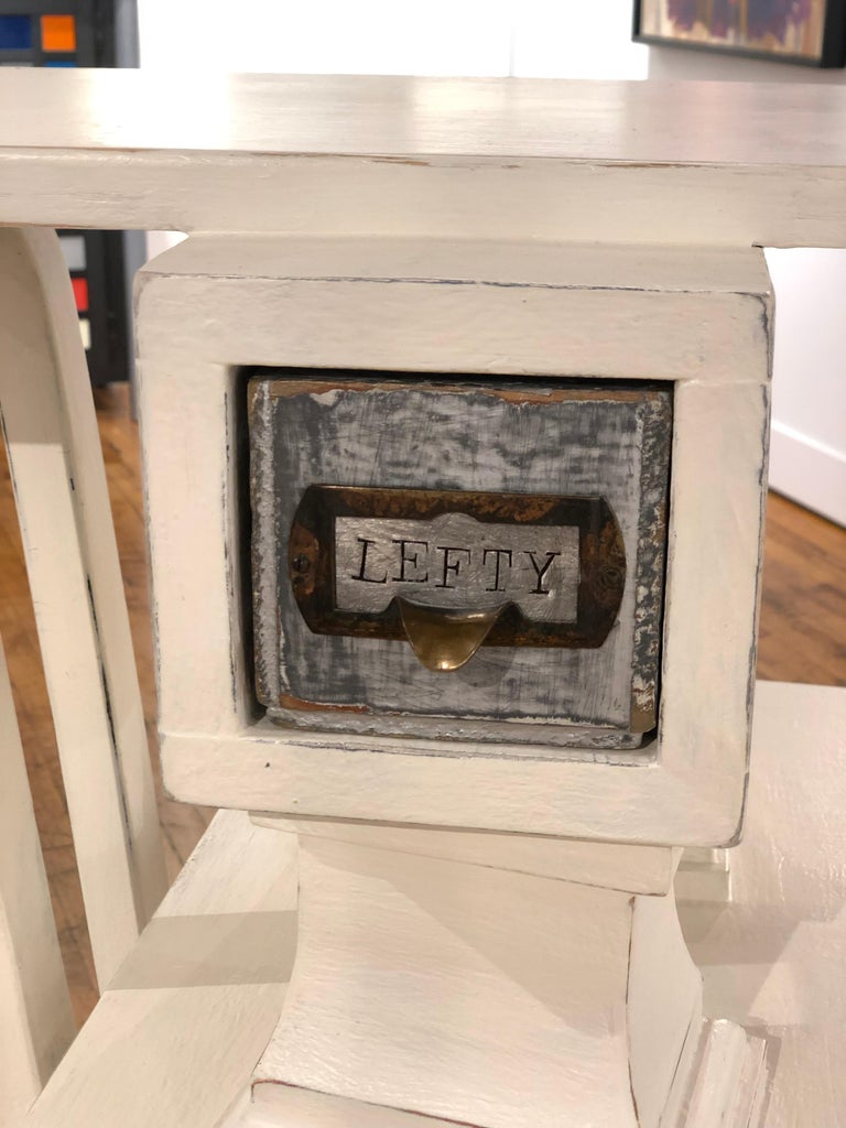 American Lefty - Side Table or Pedestal, Found Wood Various Materials, Painted For Sale