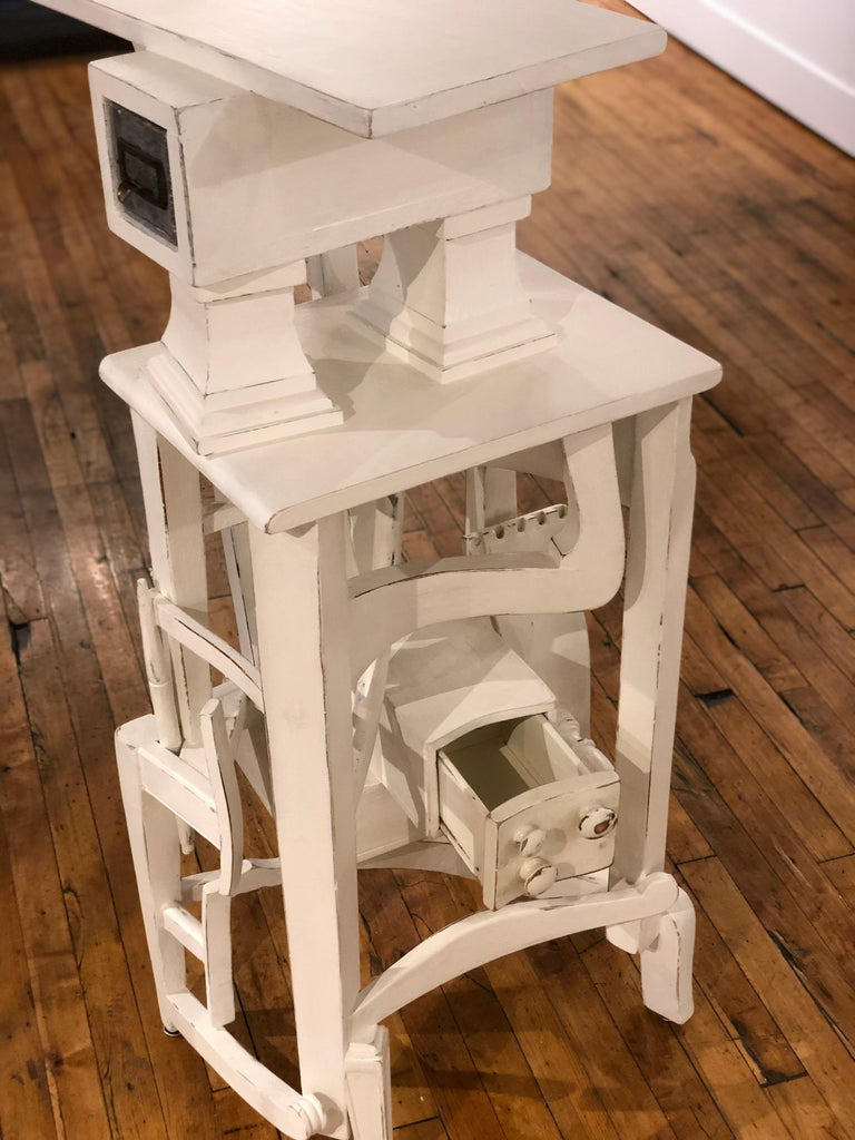 Lefty - Side Table or Pedestal, Found Wood Various Materials, Painted In New Condition For Sale In Chicago, IL