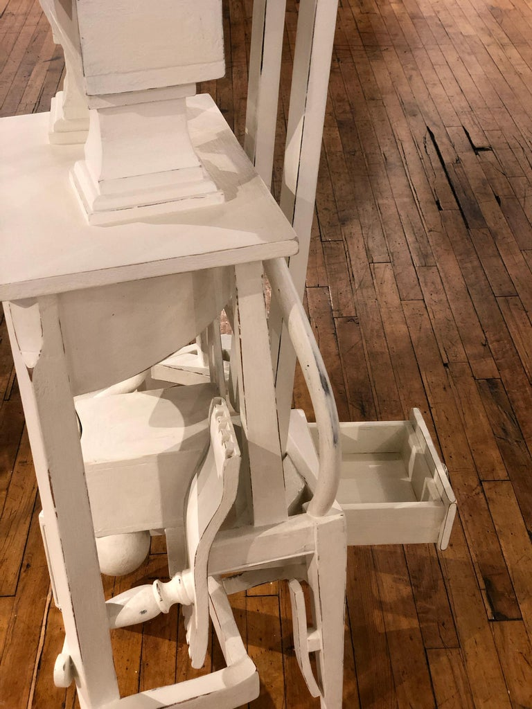 Reclaimed Wood Lefty - Side Table or Pedestal, Found Wood Various Materials, Painted For Sale